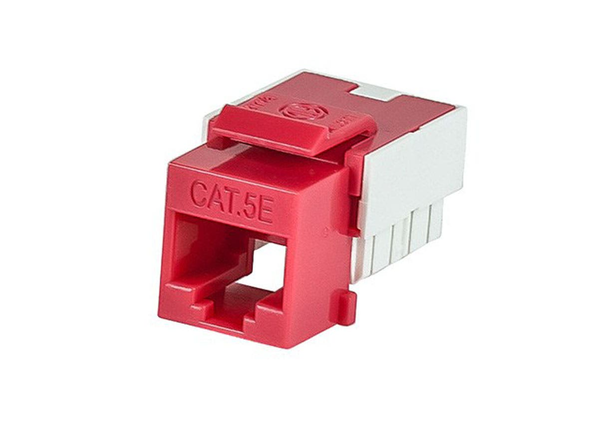 Large Product Image for Slim Cat5E Punch Down Keystone Jack - Red