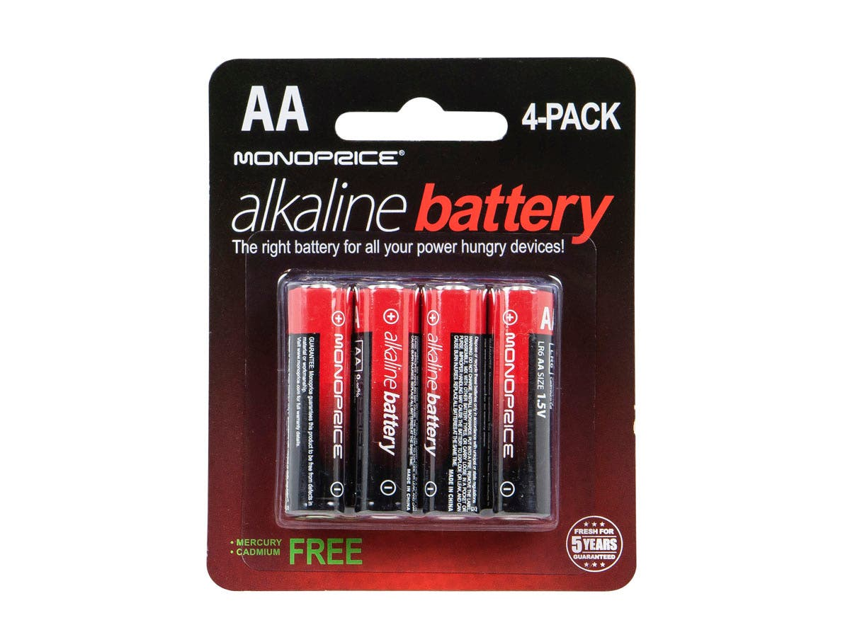 monoprice aa alkaline battery 4 pack. Black Bedroom Furniture Sets. Home Design Ideas