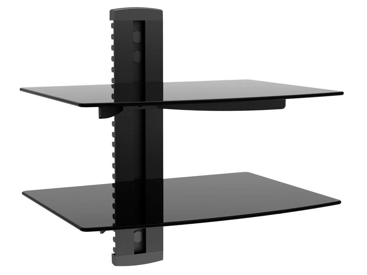 2 shelf wall mount bracket for tv components ul certified. Black Bedroom Furniture Sets. Home Design Ideas