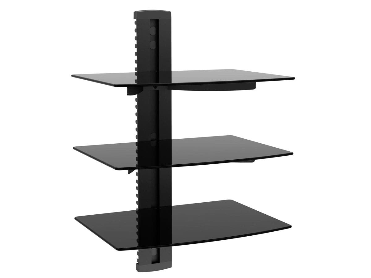 3 tier electronic component glass shelf wall mount bracket