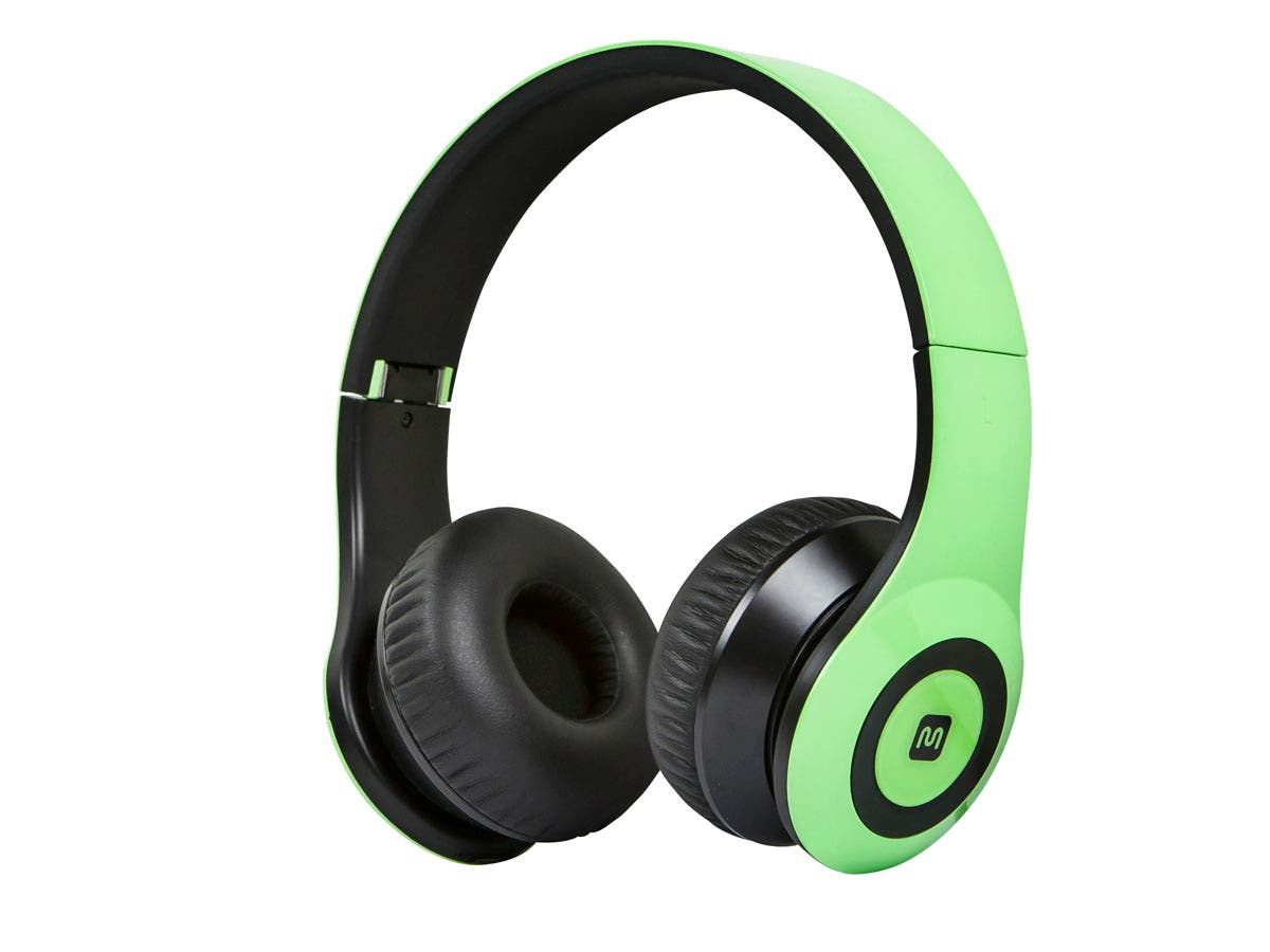 bluetooth on the ear headphones with built in microphone green. Black Bedroom Furniture Sets. Home Design Ideas