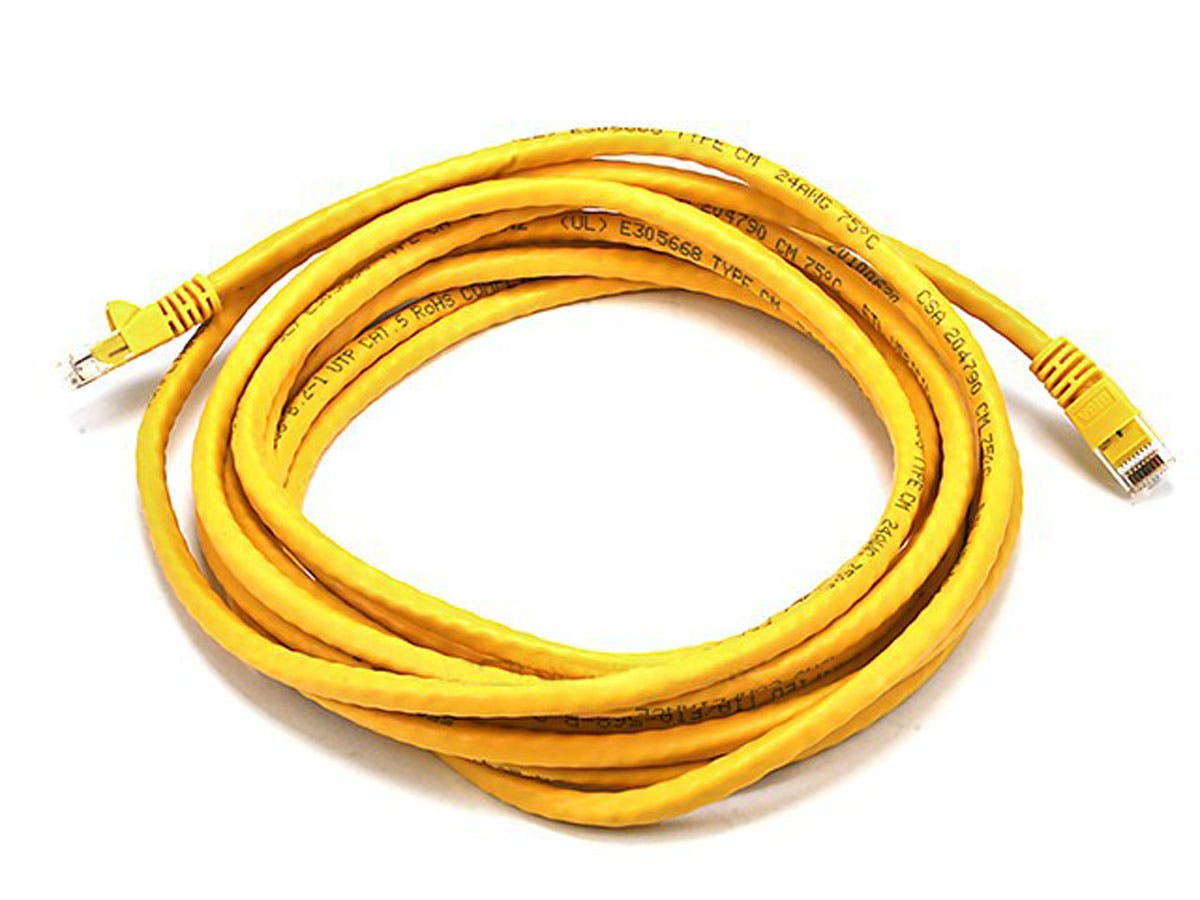 Large Product Image for 14FT 24AWG Cat5e 350MHz UTP Bare Copper Ethernet Network Cable - Yellow