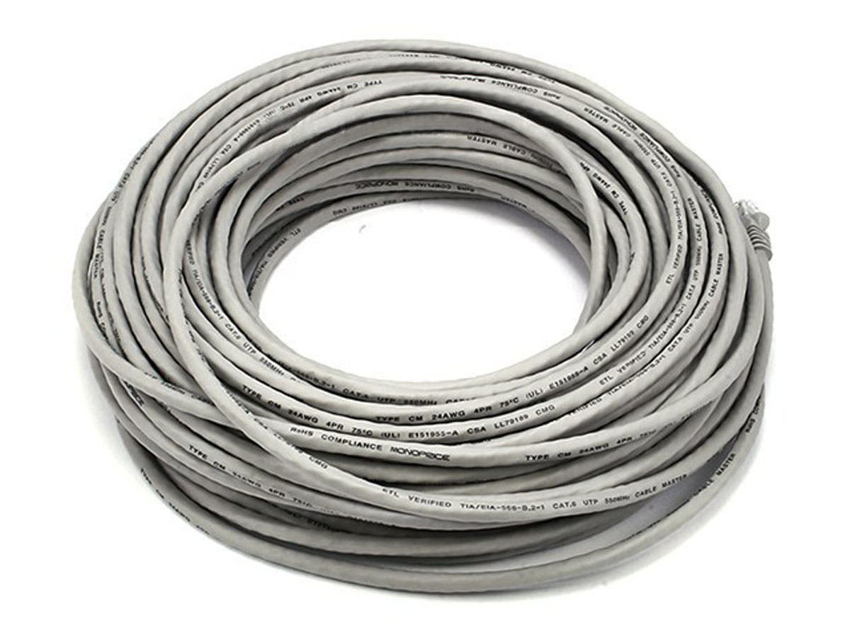 Large Product Image for 100FT 24AWG Cat6 550MHz UTP Ethernet Bare Copper Network Cable - Gray