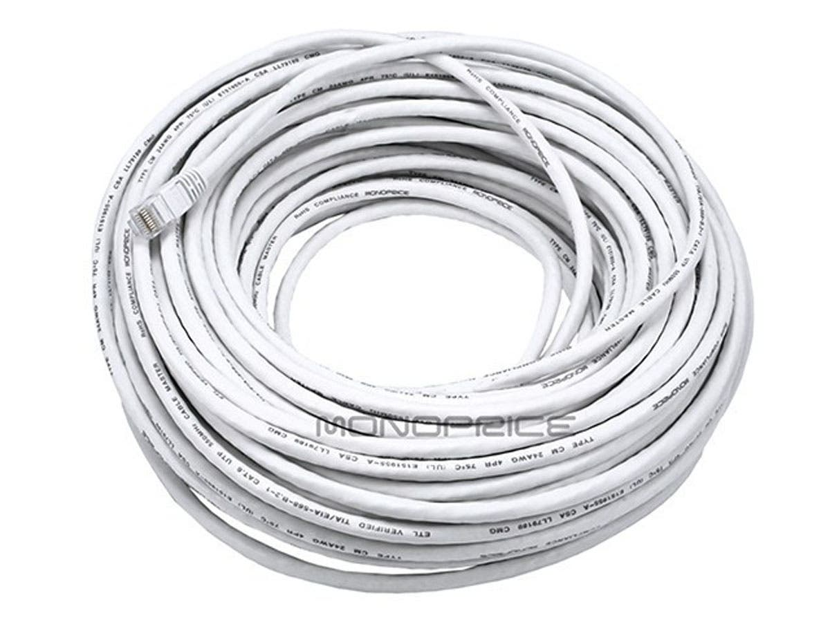 cat6 24awg utp ethernet network patch cable  100ft white