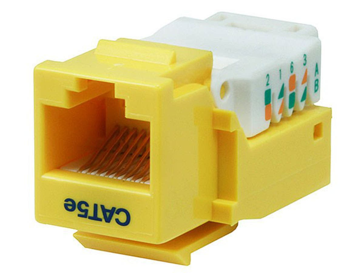 Large Product Image for Cat5E RJ-45 Toolless Keystone Jack in Yellow