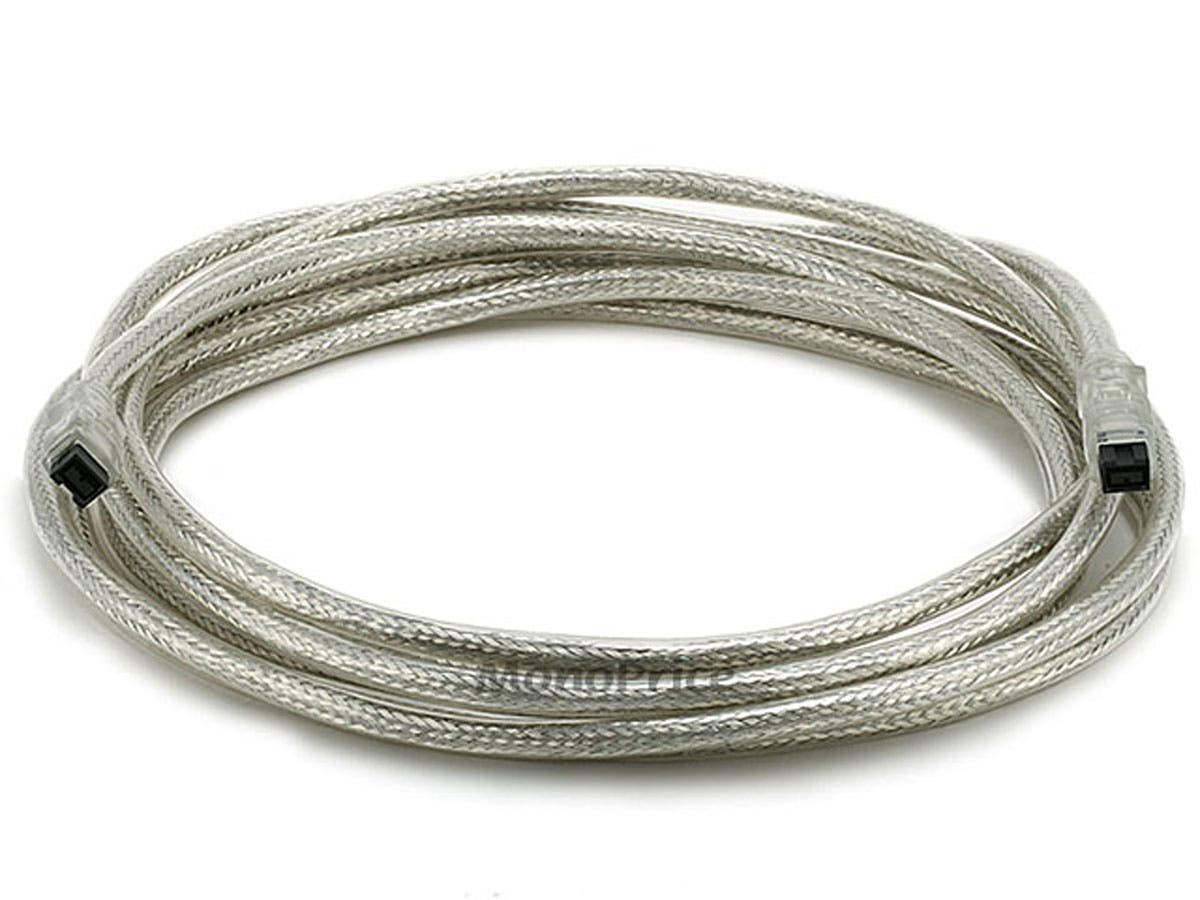 Large Product Image for 9 PIN/ 9PIN BETA FireWire 800 - FireWire 800 Cable, 15FT, CLEAR