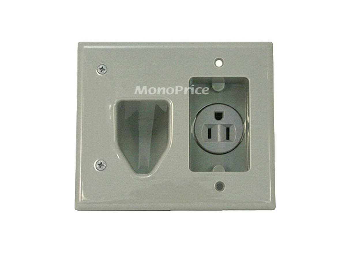 Monoprice Recessed Low Voltage Cable Wall Plate w/ Recessed Power - Gray