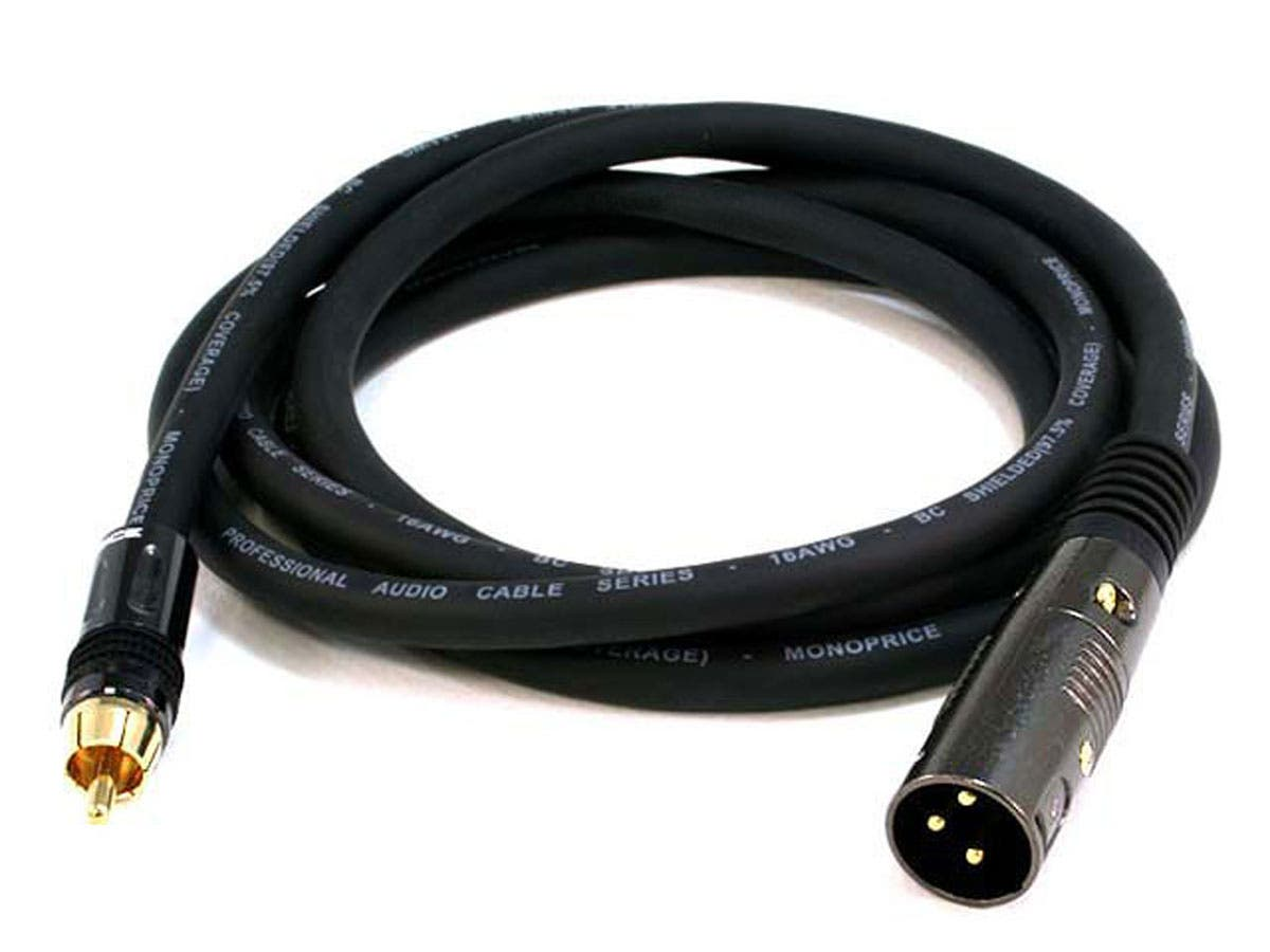 6ft premier series xlr male to rca male 16awg cable  gold
