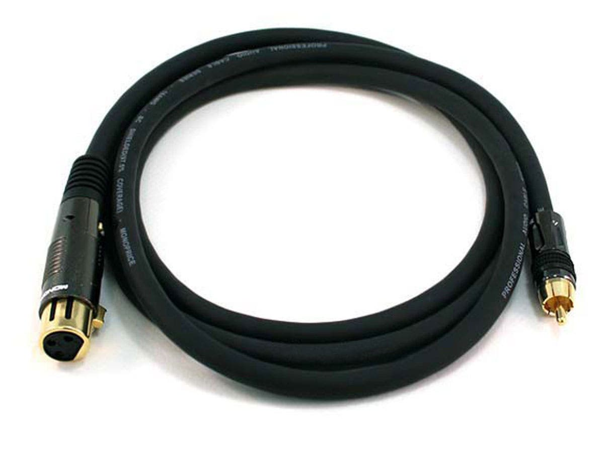 Large Product Image for 6ft Premier Series XLR Female to RCA Male 16AWG Cable (Gold Plated)