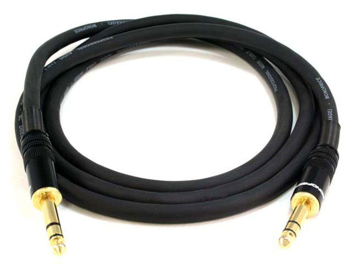 Large Product Image for 6ft Premier Series 1/4inch (TRS or Stereo Phono) Male to Male 16AWG Cable (Gold Plated)