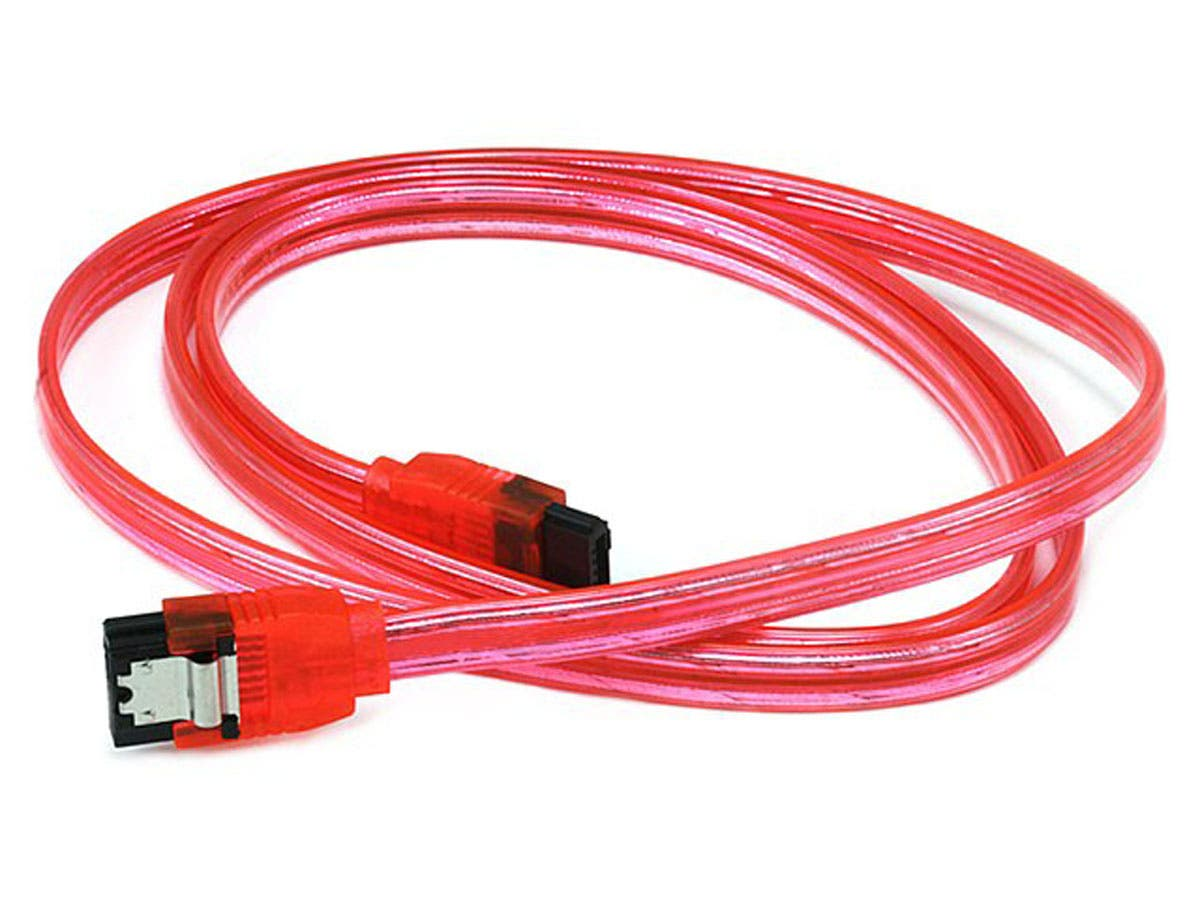 Large Product Image for 36inch SATA 6Gbps Cable w/Locking Latch - UV Red