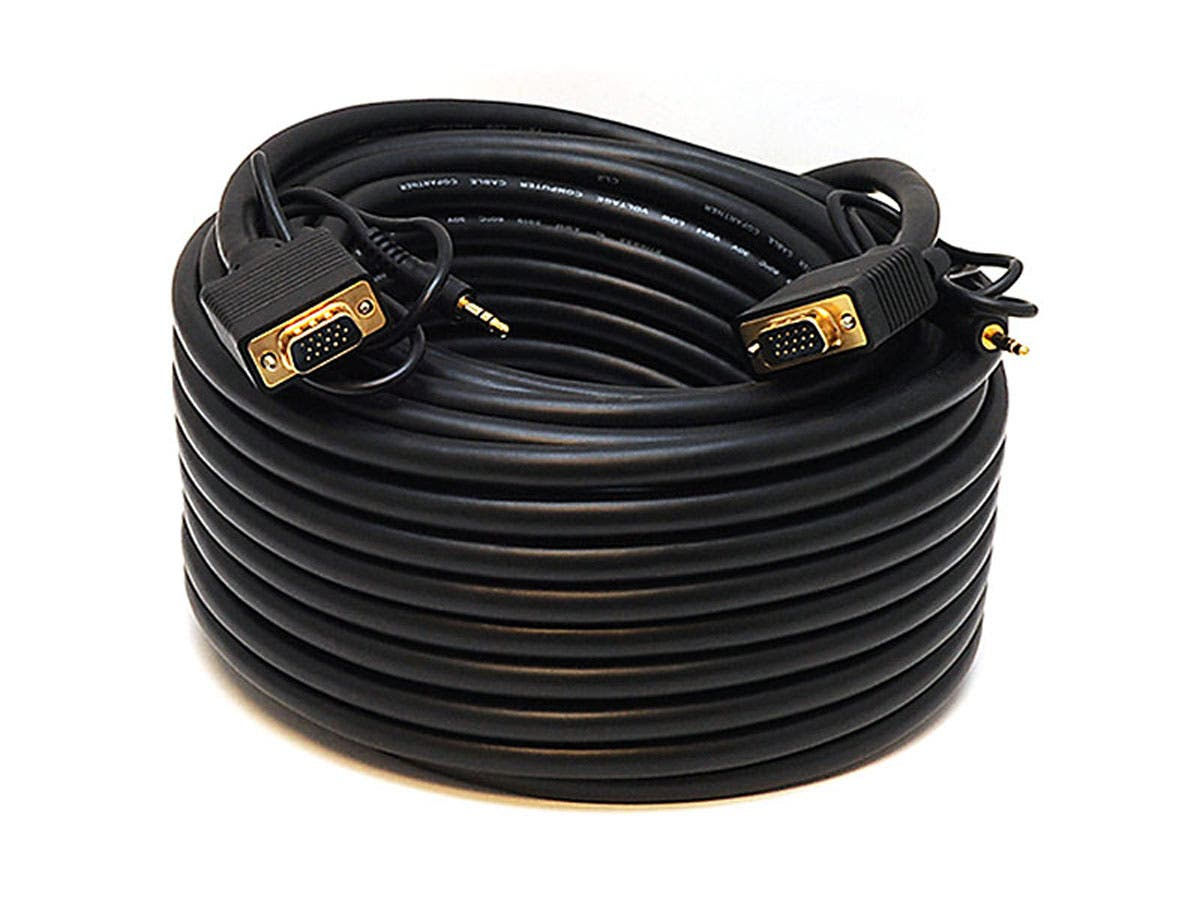 Large Product Image for 75ft Super VGA HD15 M/M CL2 Rated Cable w/ Stereo Audio and Triple Shielding (Gold Plated)