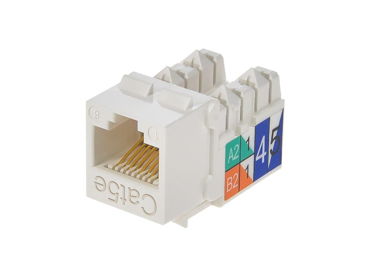 cat5e punch down keystone jack - white