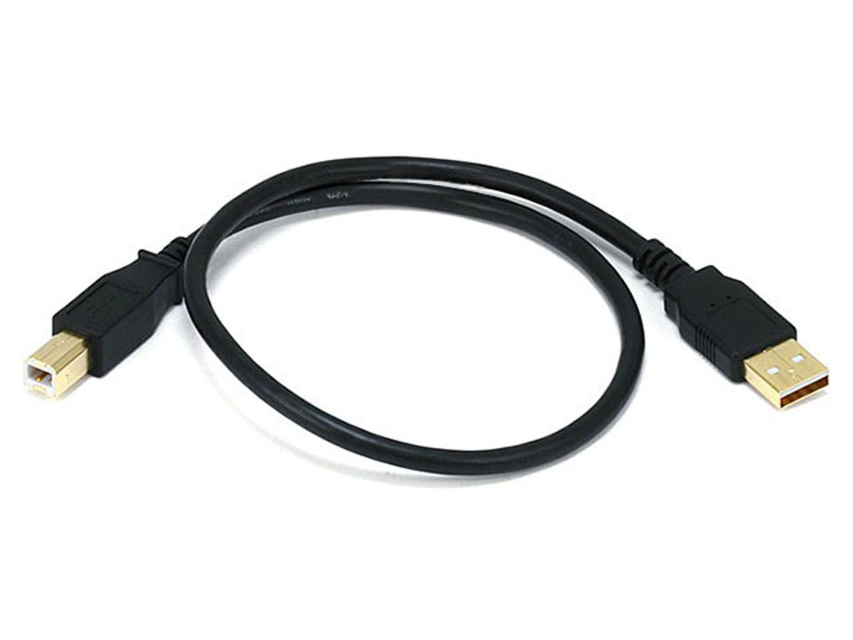 Large Product Image for 1.5ft USB 2.0 A Male to B Male 28/24AWG Cable - (Gold Plated)