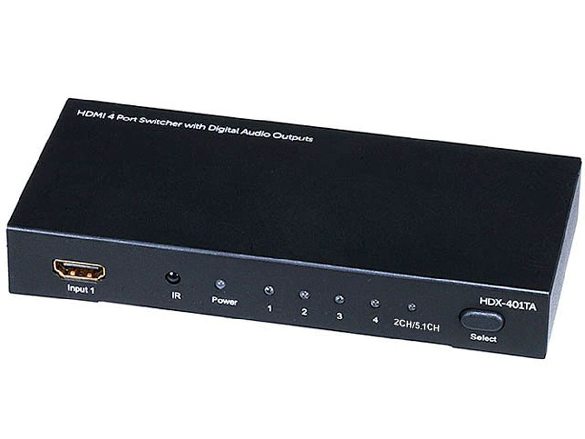 Large Product Image for 4X1 HDMI® Switcher w/ Toslink & Digital Coaxial Port (Rev.2) w/ 3D support.