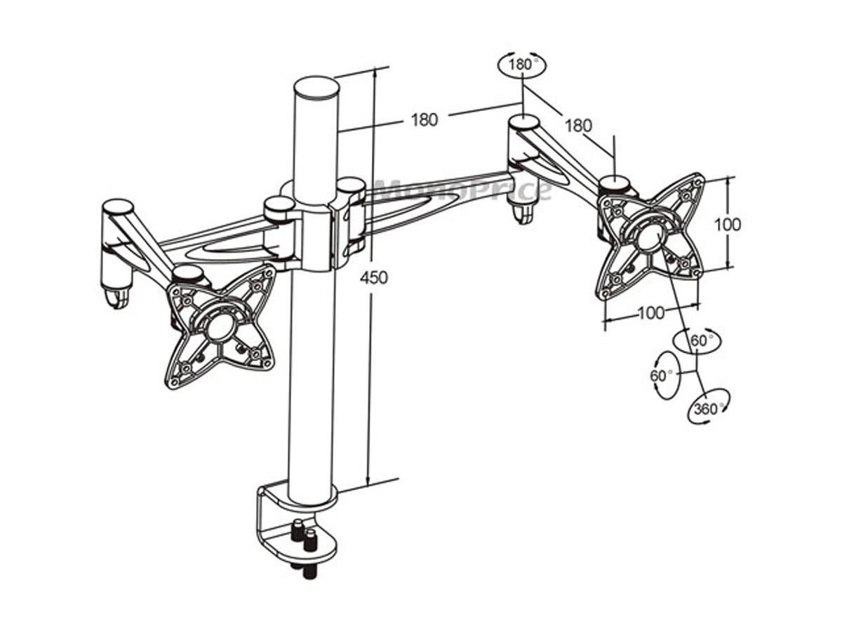 3 Way Adjustable Tilting Dual Desk Mount Bracket For Lcd