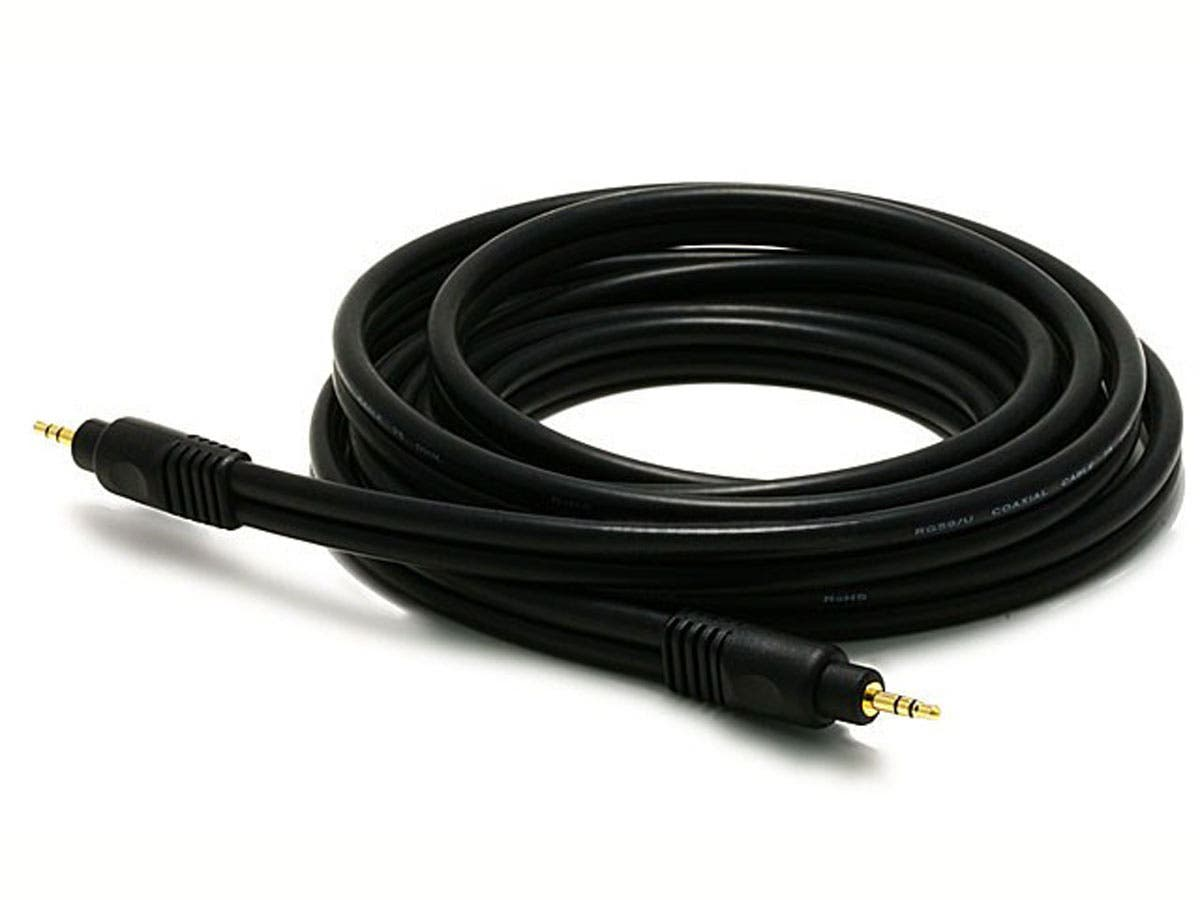 Large Product Image for 10ft Premium 3.5mm Stereo Male to 3.5mm Stereo Male 22AWG Cable (Gold Plated) - Black 