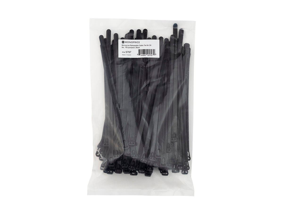 Large Product Image for Releasable cable tie 8 inch 50LBS, 100pcs/Pack - Black