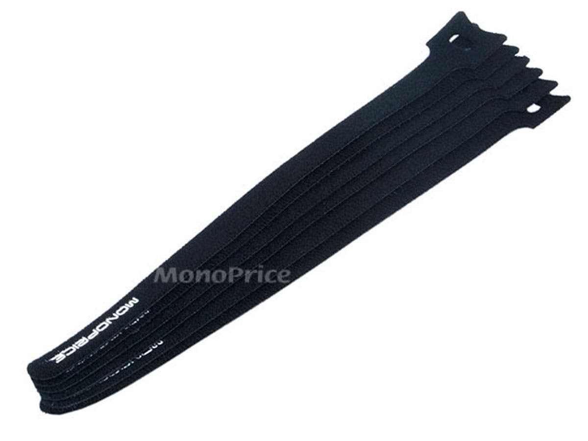 Large Product Image for Hook & Loop Fastening Cable Ties 9inch, 10pcs/Pack - Black
