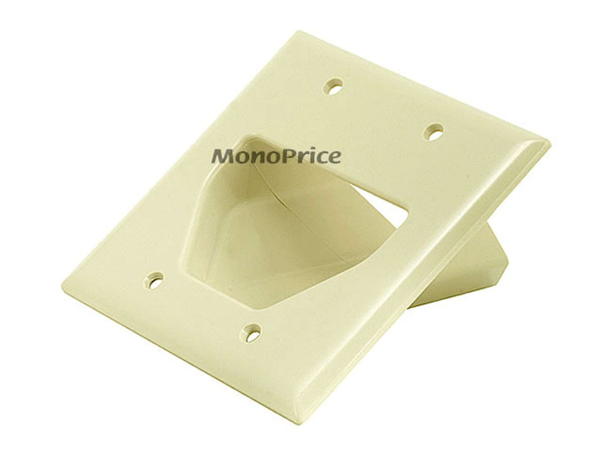 Two Gang Low Voltage Cable Plate : Gang recessed low voltage cable wall plate ivory