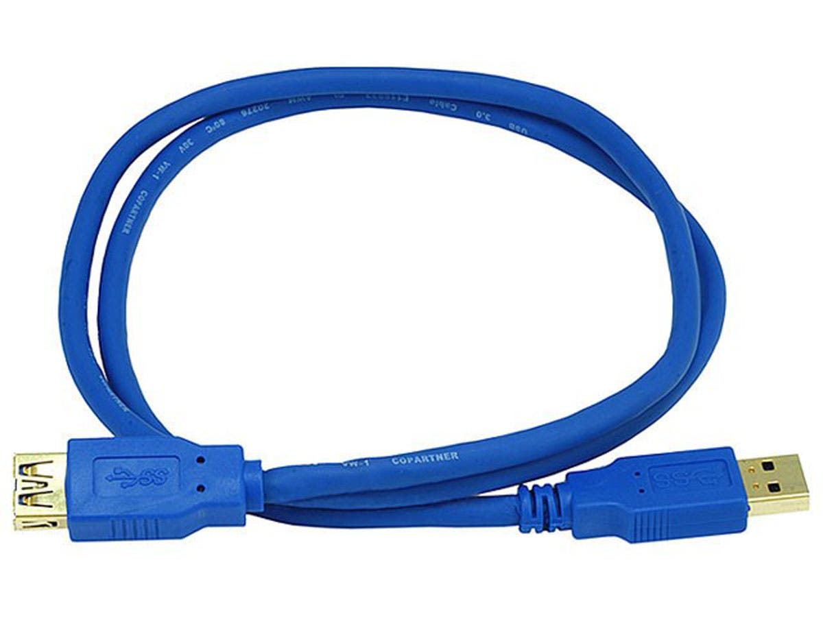 Large Product Image for 3ft USB 3.0 A Male to A Female Extension 28/24AWG Cable (Gold Plated)