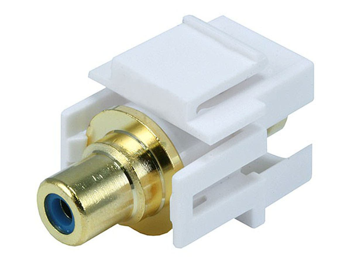 Large Product Image for Keystone Jack - Modular RCA w/Blue Center, Flush Type (White)