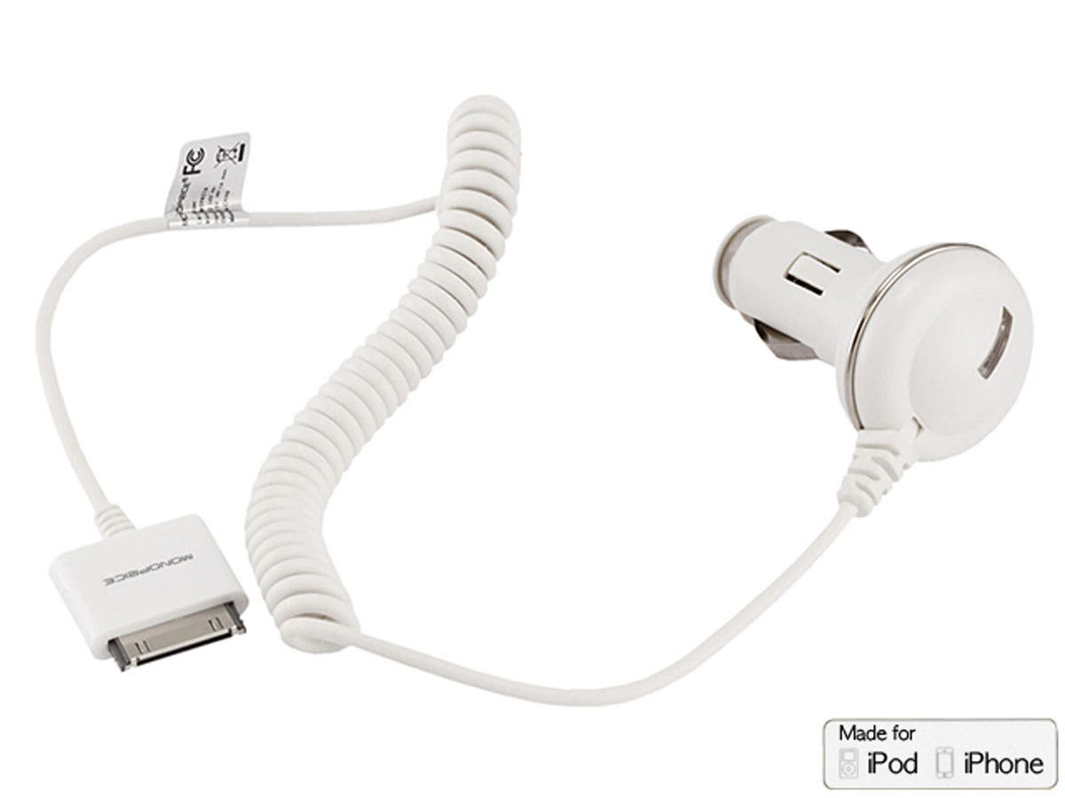 Large Product Image for Car Charger for all 30-pin iPhone® and iPod® 1A - White