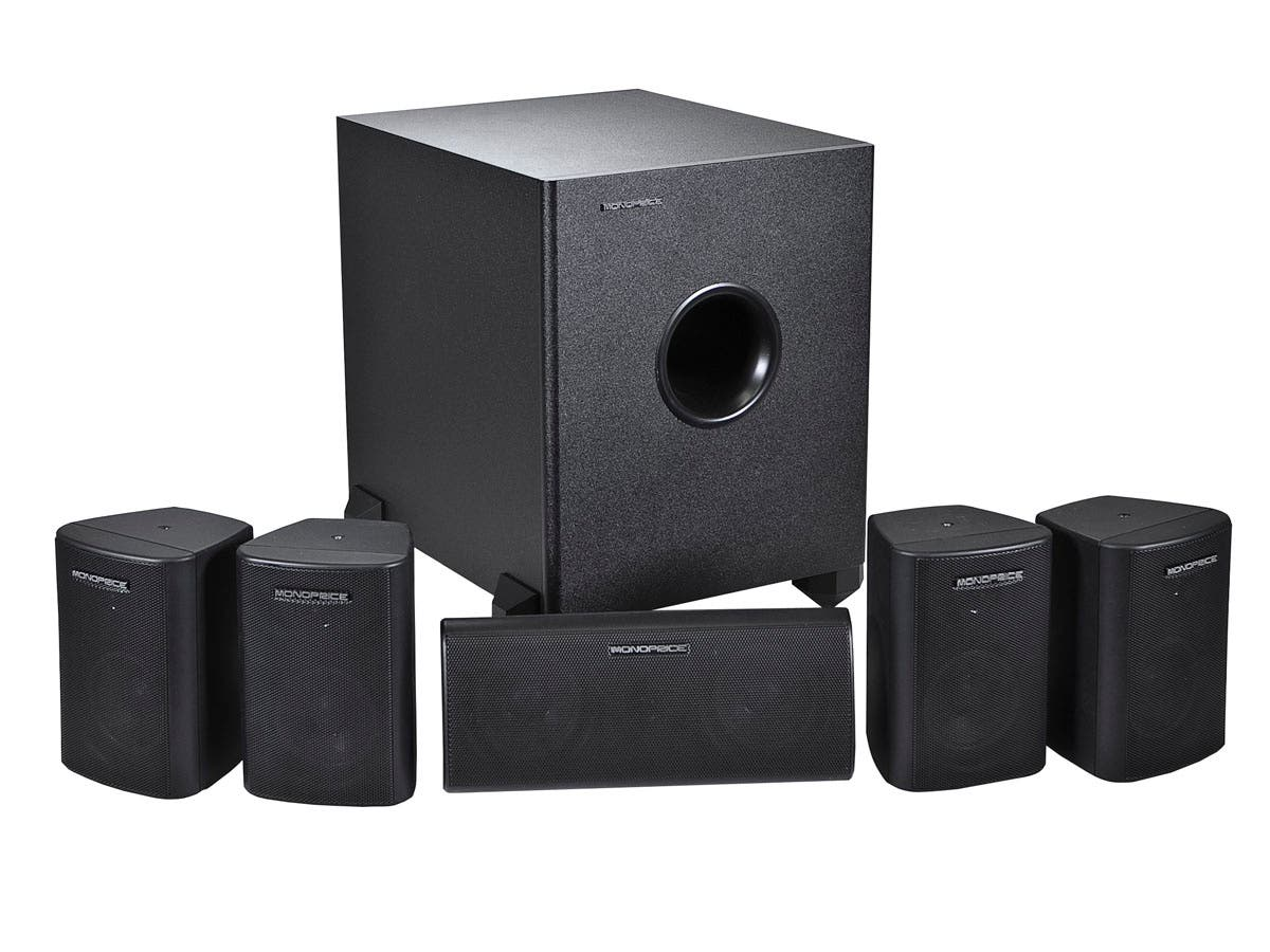 Large Product Image for 5.1 Channel Home Theater Satellite Speakers & Subwoofer �- Black