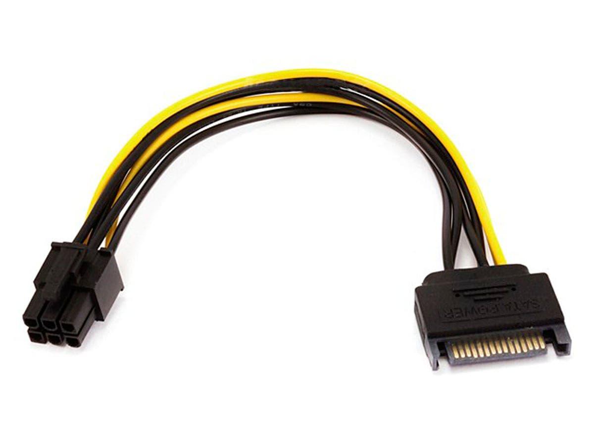 8inch Sata 15pin To 6pin Pci Express Card Power Cable