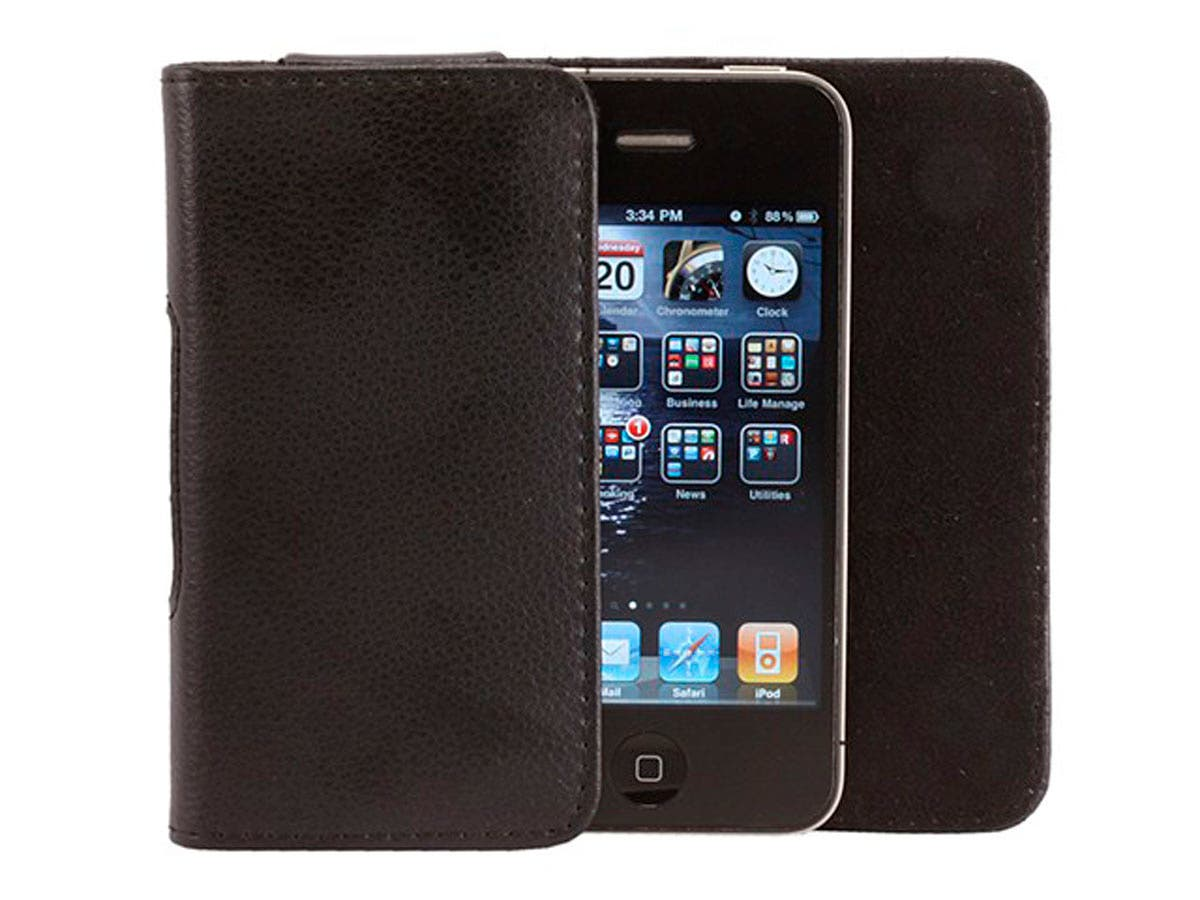 Large Product Image for Slim Genuine Leather Pouch for iPhone 4/4S - Black