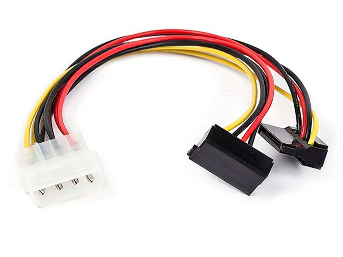 Large Product Image for 8inch 4pin MOLEX Male to Two 15pin SATA II Female w/ 90 degree Power Cable