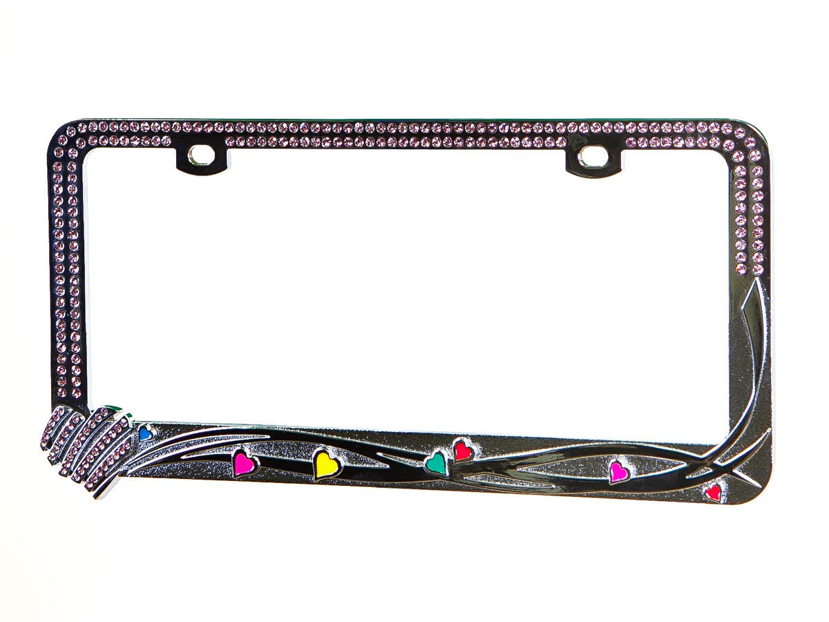 Large Product Image for Chrome Metal License Plate Frame w/ Purple Diamante Rhinestones and Mini Pearlescent Hearts
