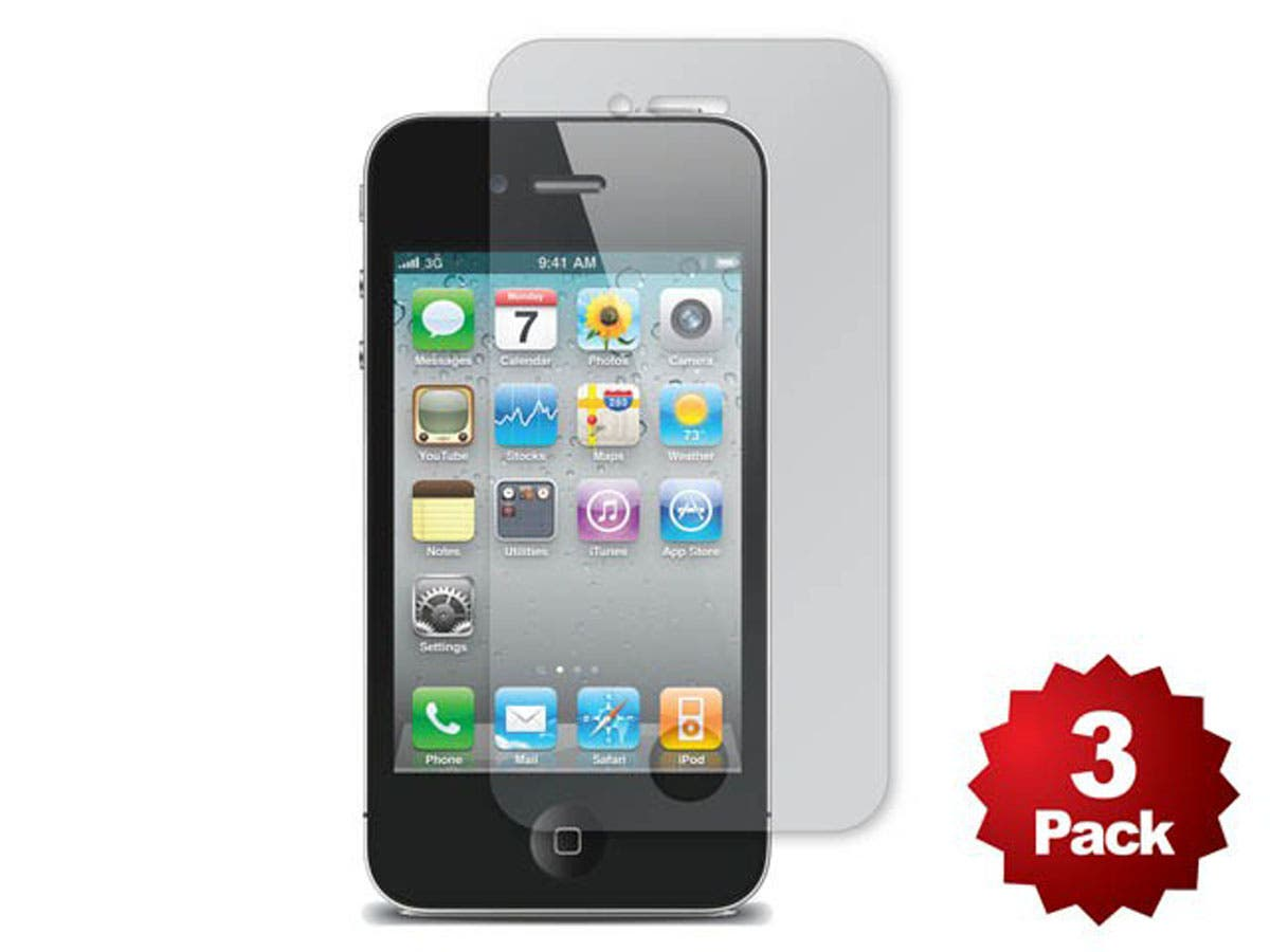 Large Product Image for Screen Protector (3-Pack) w/ Cleaning Cloth for iPhone 4/4S - Matte Finish