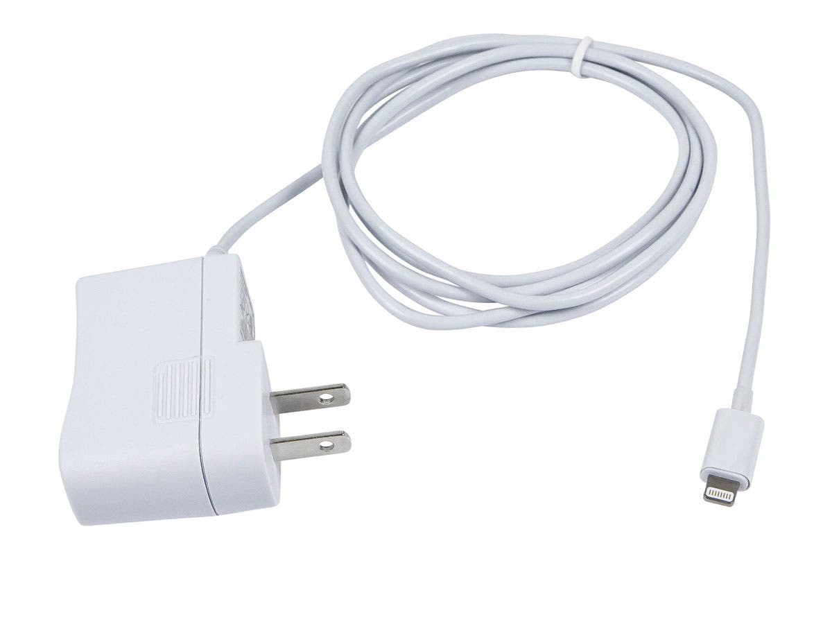 Large Product Image for MFi Certified Wall Charger with Lightning™ Connector for iPad®, iPhone®, and iPod® 1A - White
