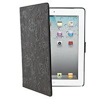 Paisely Genuine Leather Cover and Stand for iPad® 2, iPad 3, iPad 4 - Brown