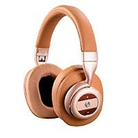 SonicSolice Active Noise Cancelling Bluetooth Over Ear Headphones, Champagne with Tan