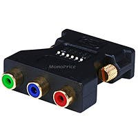 Product Image for DVI-I Male to 3 RCA Component Adapter w/ DIP Switch for ATI Video Cards (Gold Plated)