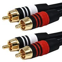 Product Image for 6ft Premium 2 RCA Plug/2 RCA Plug M/M 22AWG Cable - Black 