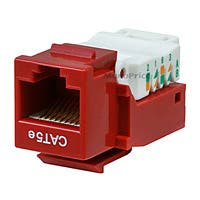 Product Image for Cat5E RJ-45 Toolless Keystone Jack in Red