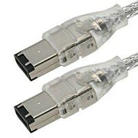 Product Image for IEEE-1394 FireWire iLink DV Cable 6P-6P M/M -  3ft (CLEAR)