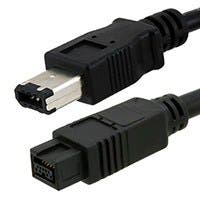 Product Image for 9 PIN/ 6PIN BILINGUAL FireWire 800 - FireWire 400 Cable, 10FT, Black