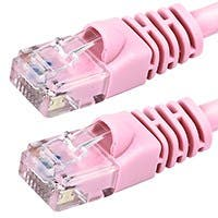 Product Image for 14FT 24AWG Cat5e 350MHz UTP Bare Copper Ethernet Network Cable - Pink