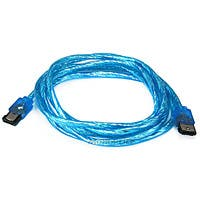 Product Image for 6ft SATA External Round Cable - eSATA to eSATA (Type I to Type I) - UV Blue 