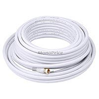 Product Image for 50ft RG6 (18AWG) 75Ohm, Quad Shield, CL2 Coaxial Cable with F Type Connector - White