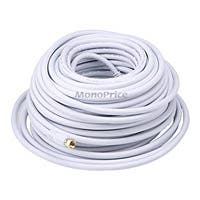 Product Image for 100ft RG6 (18AWG) 75Ohm, Quad Shield, CL2 Coaxial Cable with F Type Connector - White