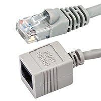 8inch 24AWG Cat5e 350MHz UTP Male to Female Crossover Bare Copper Ethernet Network Extension Cable - Gray