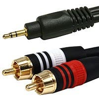 Product Image for 3ft Premium 3.5mm Stereo Male to 2RCA Male 22AWG Cable (Gold Plated) - Black