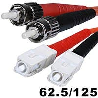 Fiber Optic Cable, SC/PC-ST/PC, OM1, Multi Mode, Duplex - 5 meter (62.5/125 Type) - Orange