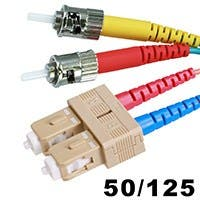 Product Image for 10Gb Fiber Optic Cable, ST/SC, Multi Mode, Duplex - 10 Meter (50/125 Type) - Aqua