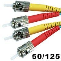 10Gb Fiber Optic Cable, ST/ST, Multi Mode, Duplex - 5 Meter (50/125 Type) - Aqua